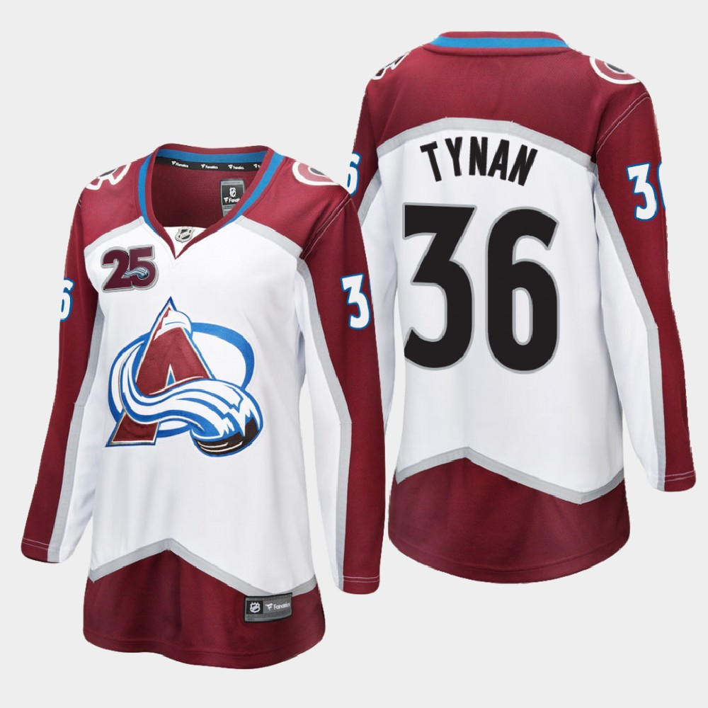 White Jersey Women's Colorado Avalanche 25th Anniversary T.J. Tynan