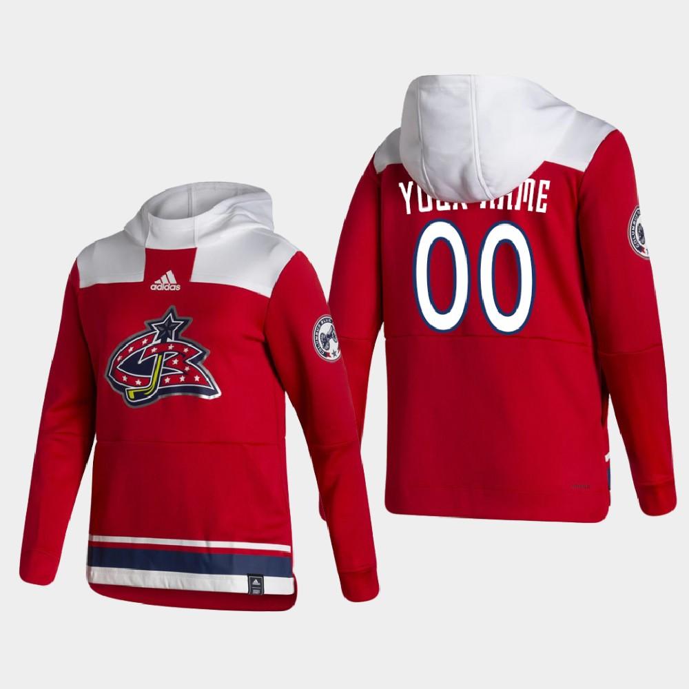 Men's Reverse Retro Red Custom Columbus Blue Jackets Hoodie