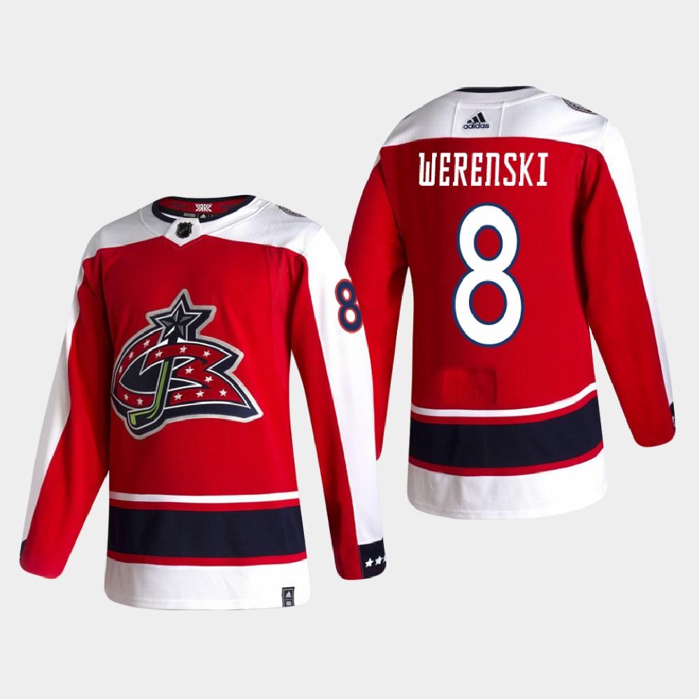 Men's Jersey Reverse Retro Red Columbus Blue Jackets Zach Werenski