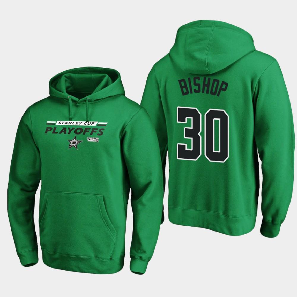 Men's Dallas Stars Ben Bishop Kelly Green 2020 Stanley Cup Playoffs Hoodie