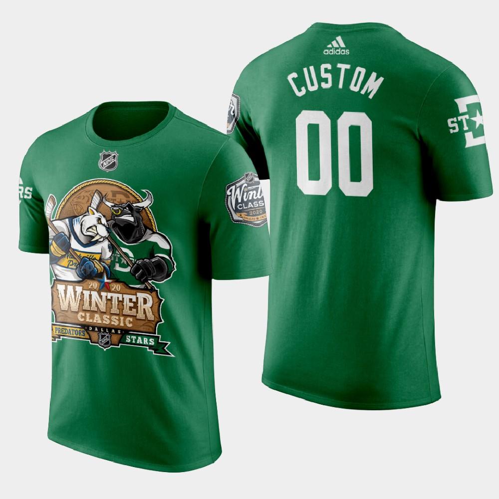 Men's Custom Green Dallas Stars 2020 Winter Classic T-Shirt