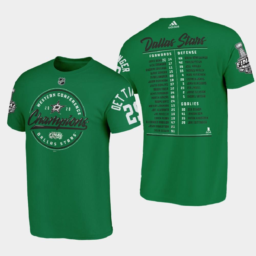Men's Green Jake Oettinger Dallas Stars 2020 Stanley Cup Final T-Shirt