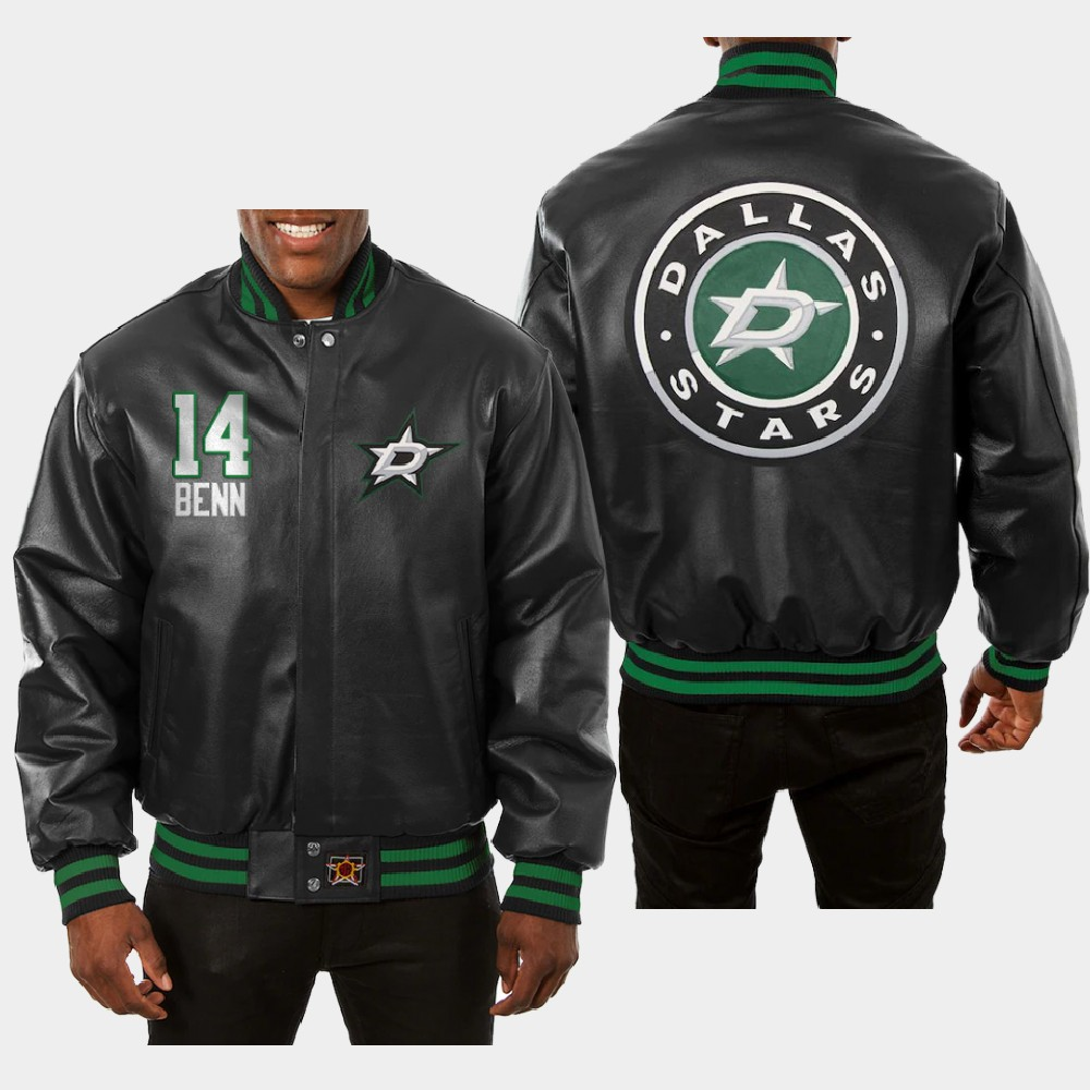 Men's Black Dallas Stars Jamie Benn Jacket All-Leather