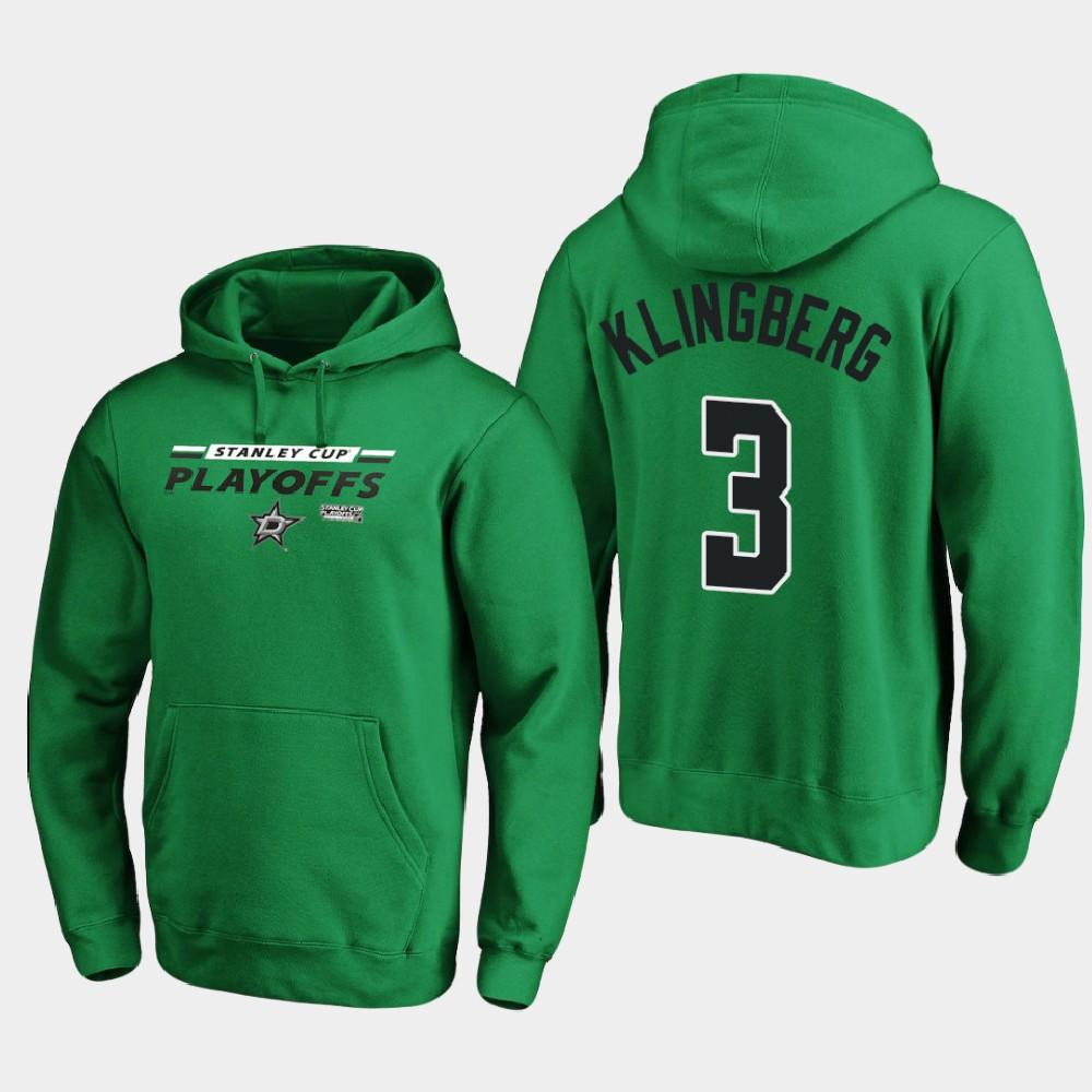 Men's Dallas Stars John Klingberg Kelly Green 2020 Stanley Cup Playoffs Hoodie