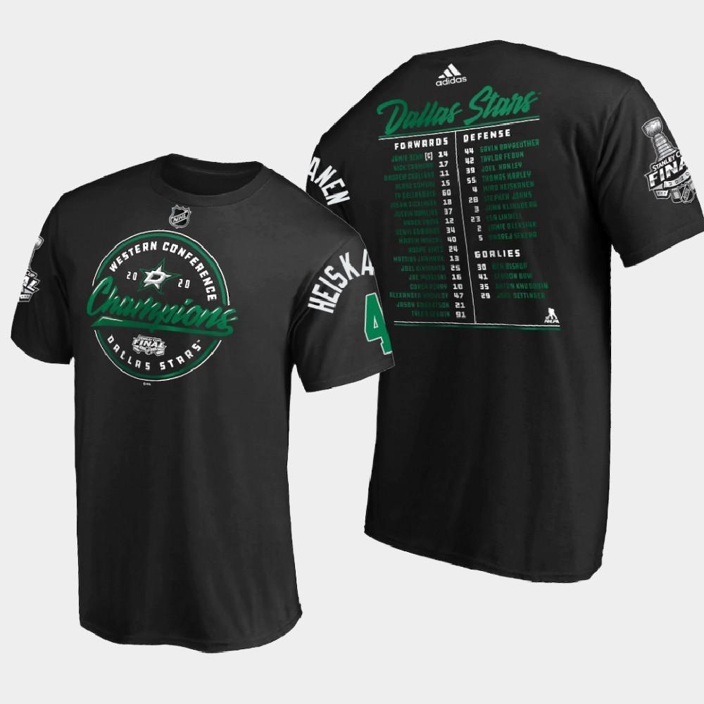 Men's Black Dallas Stars Miro Heiskanen 2020 Stanley Cup Final T-Shirt