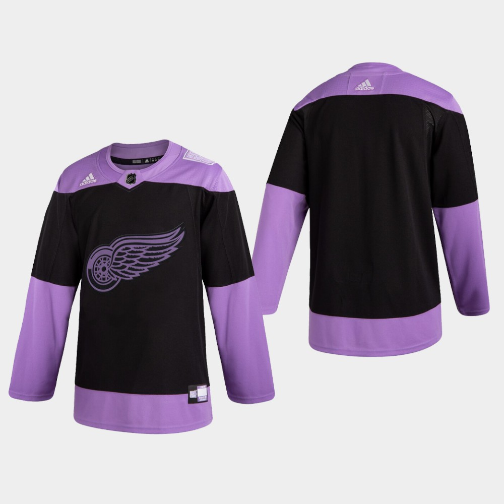 Men's Jersey Black Detroit Red Wings Hockey Fights Cancer