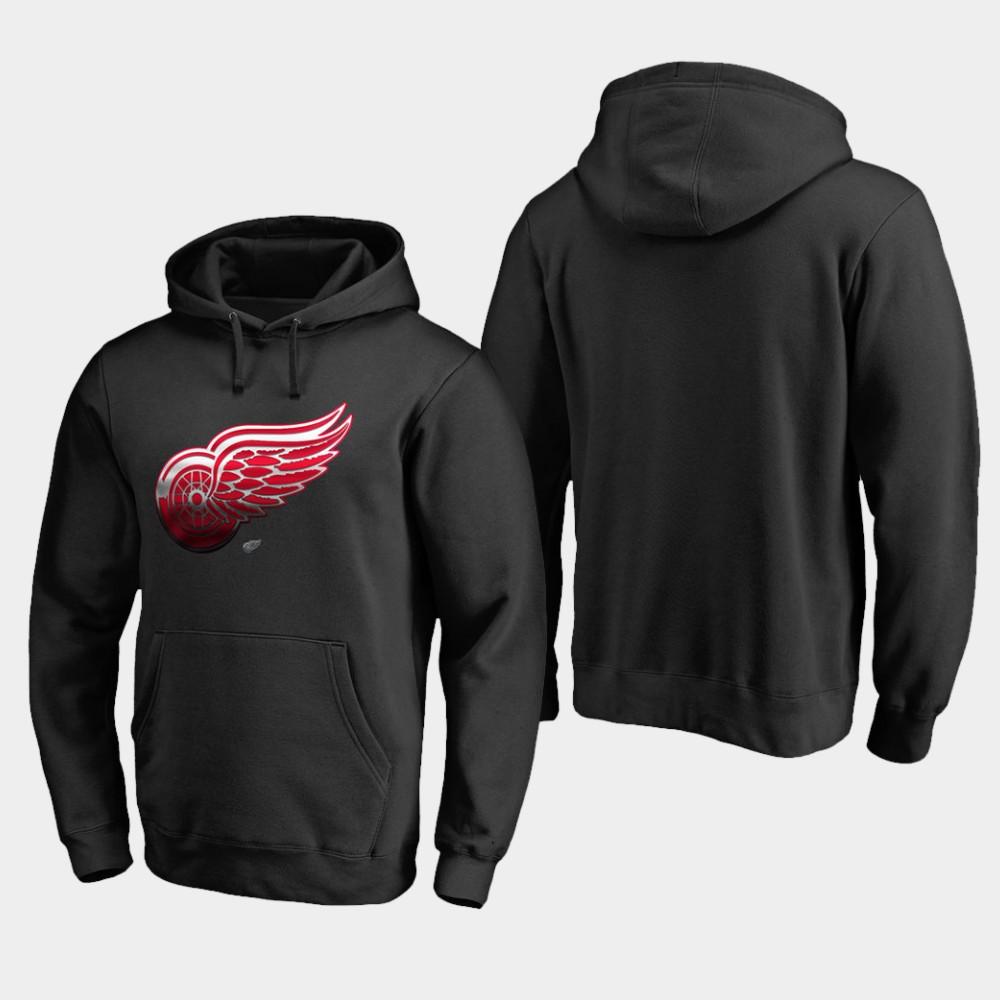 Men's Black Detroit Red Wings Hoodie Midnight Mascot