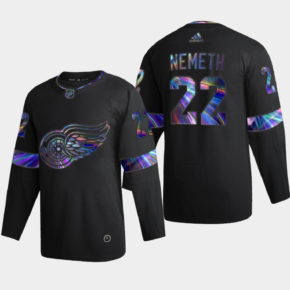 Men's Jersey Black Iridescent Holographic Detroit Red Wings Patrik Nemeth