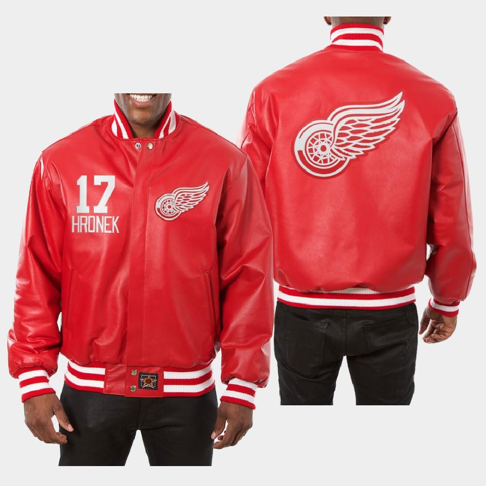 Men's Red Detroit Red Wings Filip Hronek Jacket All-Leather
