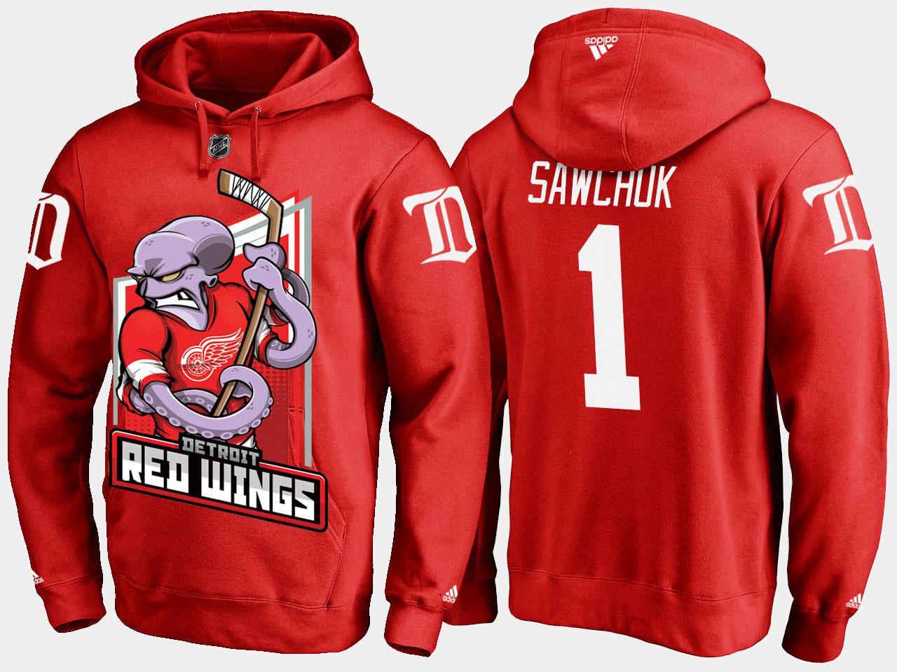 Men's Red Detroit Red Wings Terry Sawchuk Cartoon Hoodie