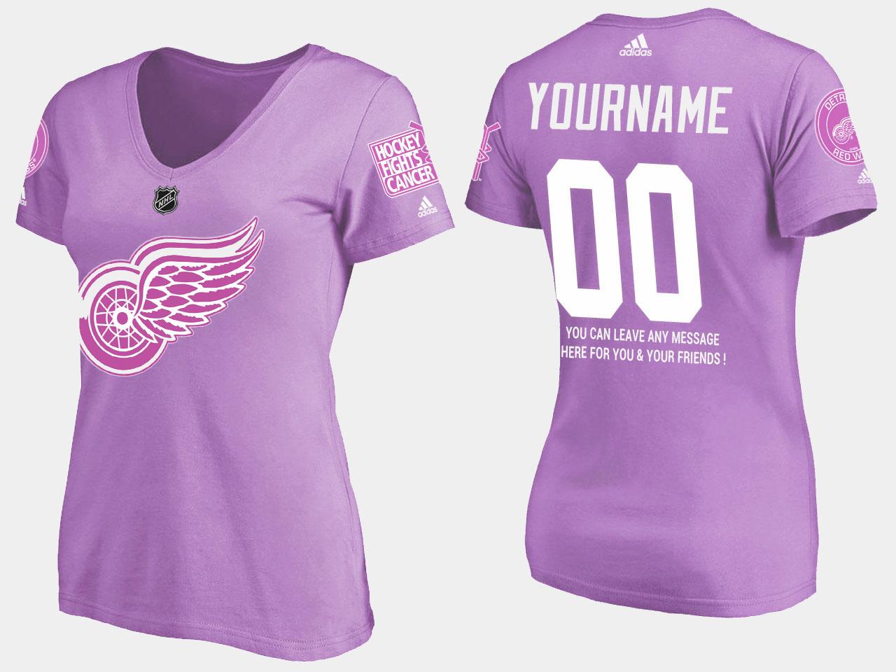Custom Women's Purple Detroit Red Wings T-Shirt Fights Cancer
