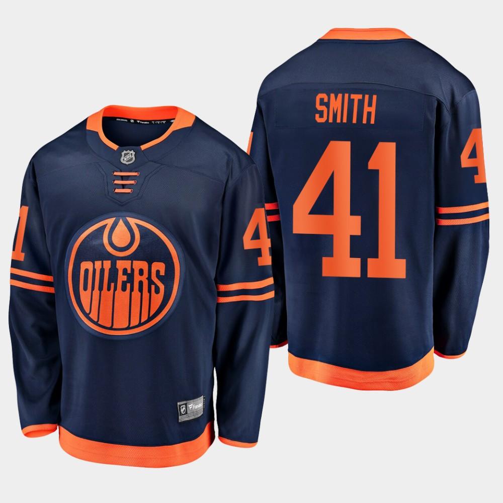 Men's Jersey Navy Alternate Edmonton Oilers Mike Smith
