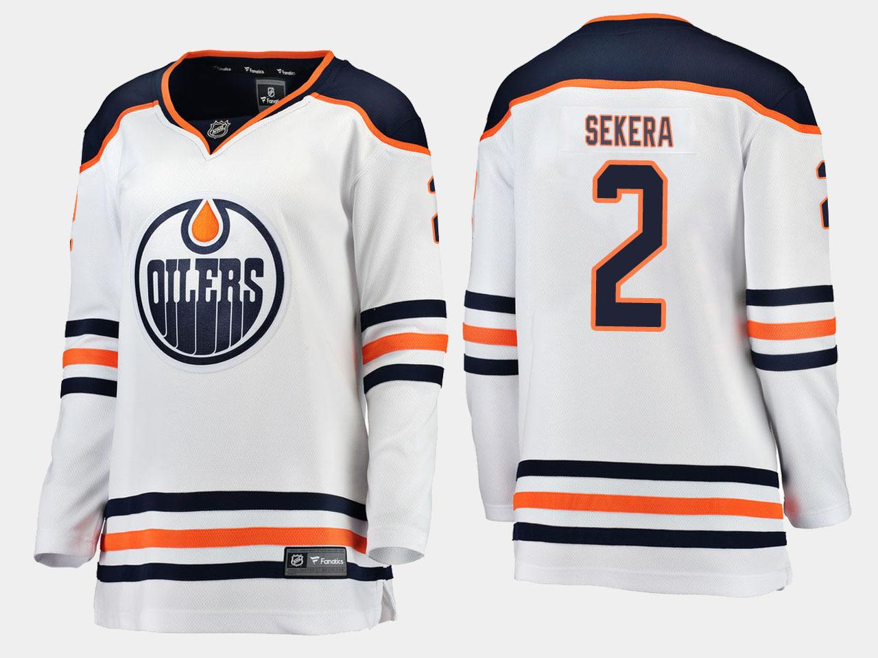 White Jersey Women's Edmonton Oilers Andrej Sekera Road