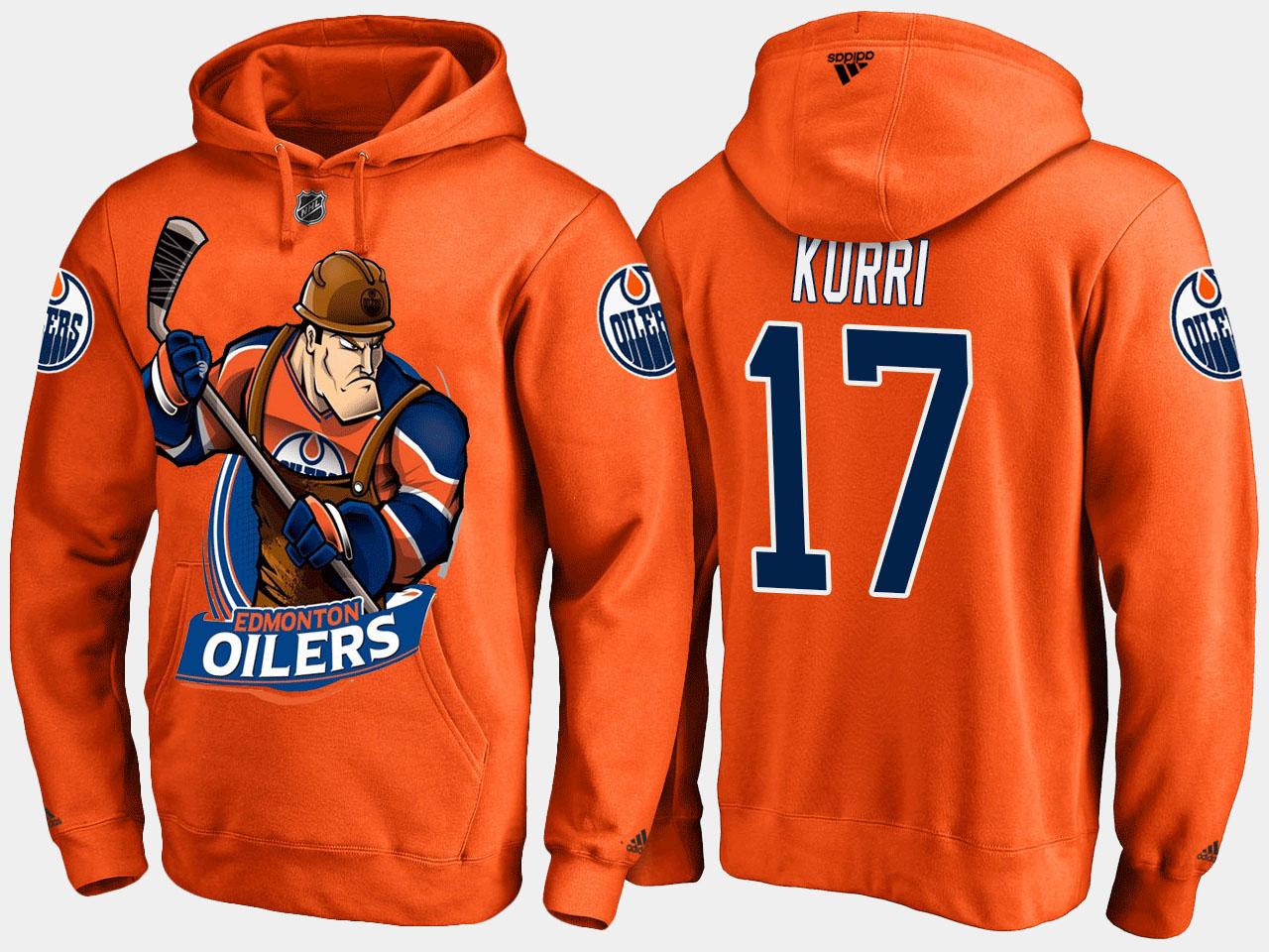 Men's Edmonton Oilers Orange Jari Kurri Cartoon Hoodie
