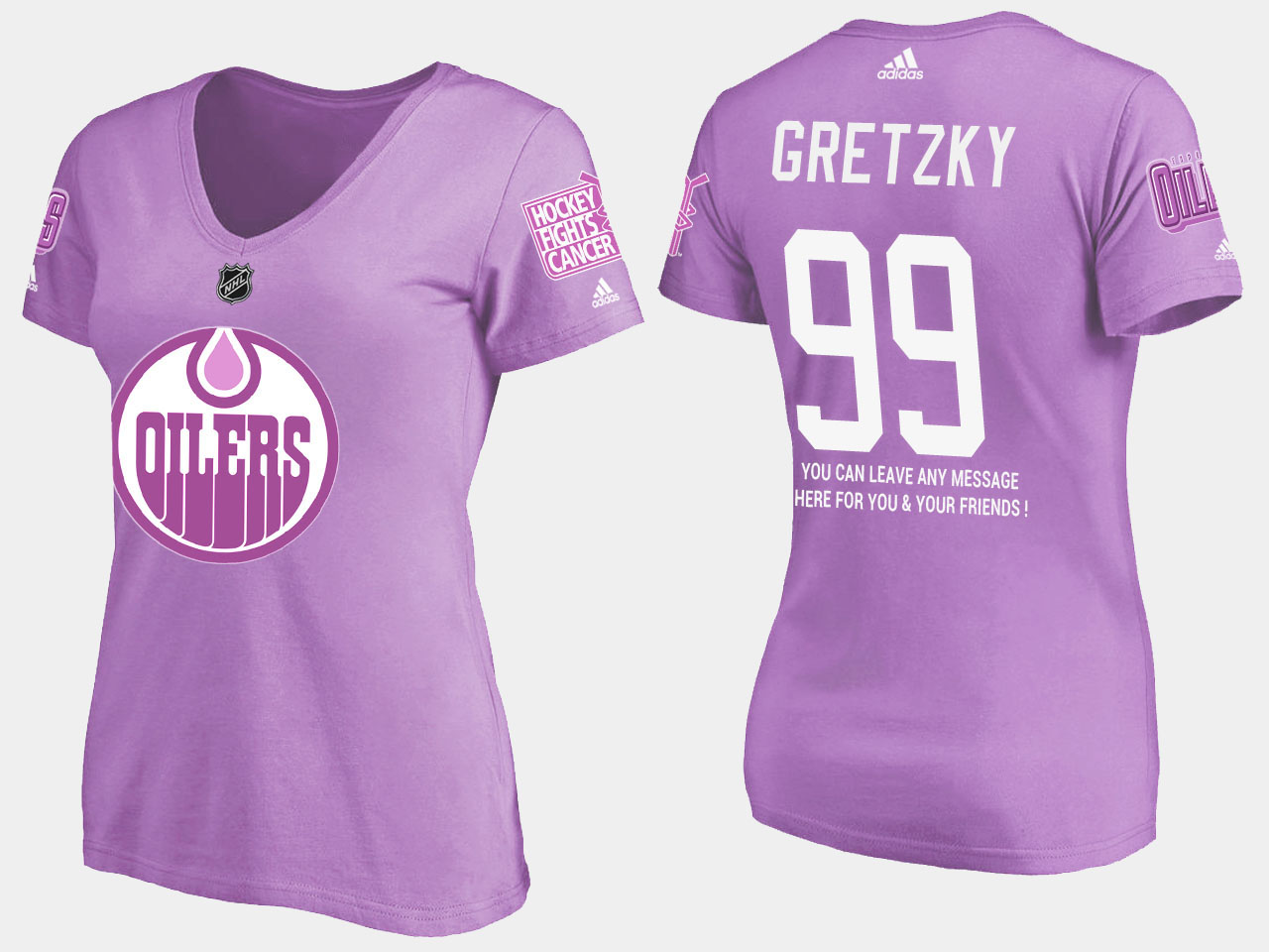Women's Purple Edmonton Oilers Wayne Gretzky T-Shirt Fights Cancer