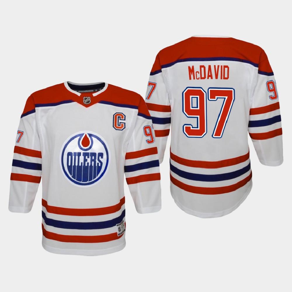 White Jersey Reverse Retro Youth Edmonton Oilers Connor McDavid