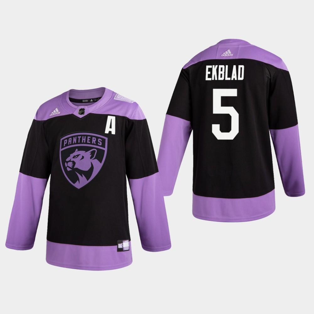 Men's Jersey Black Florida Panthers Aaron Ekblad Hockey Fights Cancer