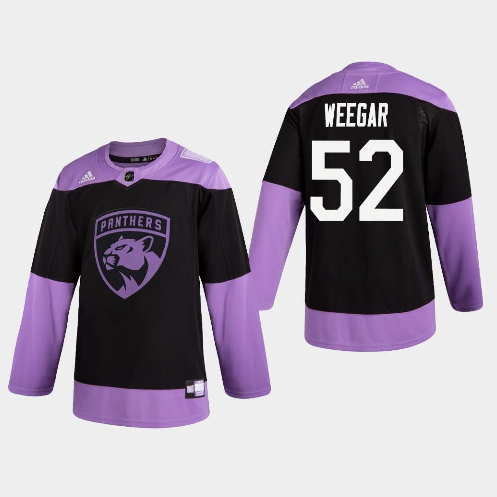 Men's Jersey Black Florida Panthers MacKenzie Weegar Hockey Fights Cancer