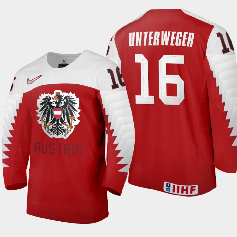 IIHF Men's Jersey Red 2021 IIHF World Junior Championship Dominik Unterweger
