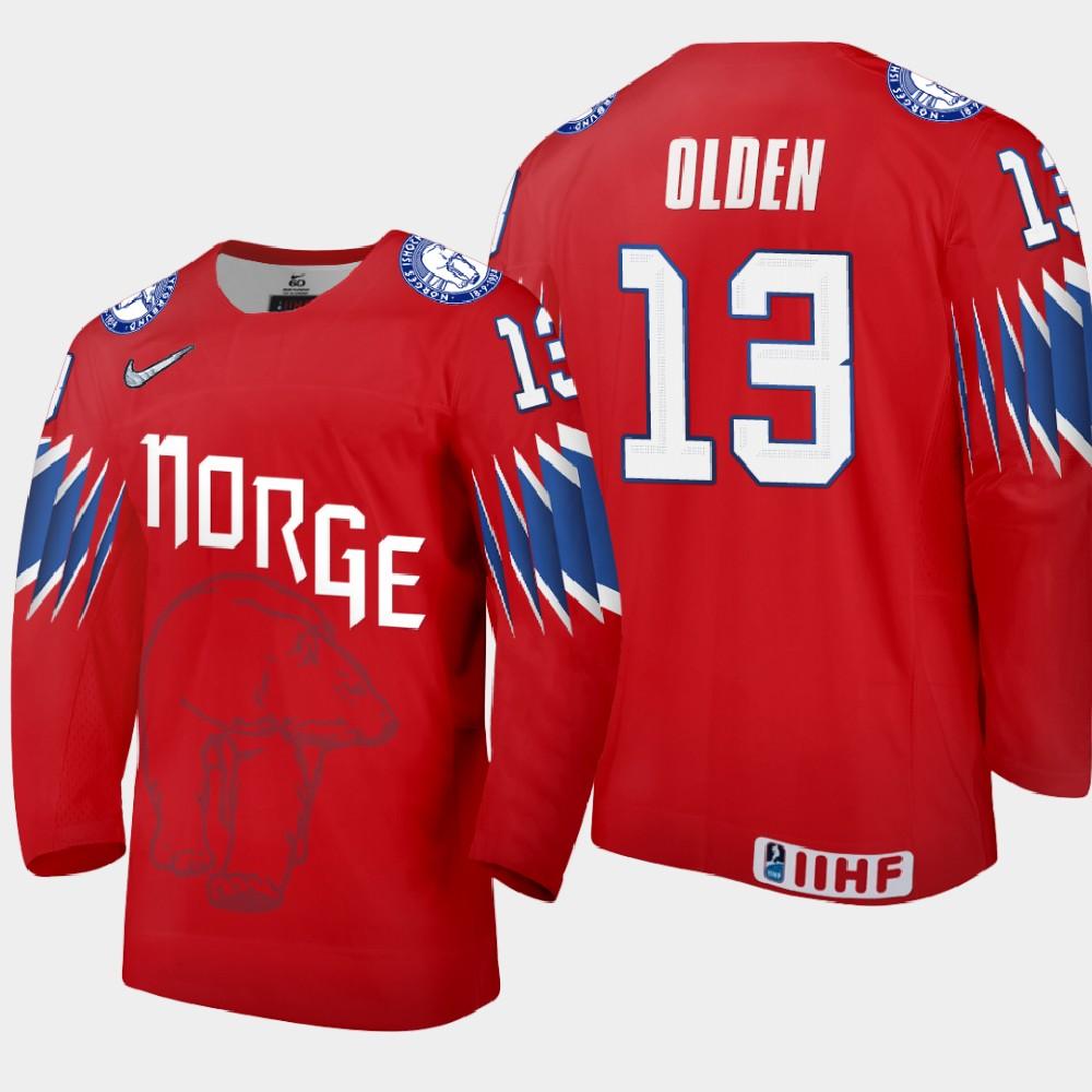 IIHF Men's Jersey Red 2021 IIHF World Championship Sondre Olden