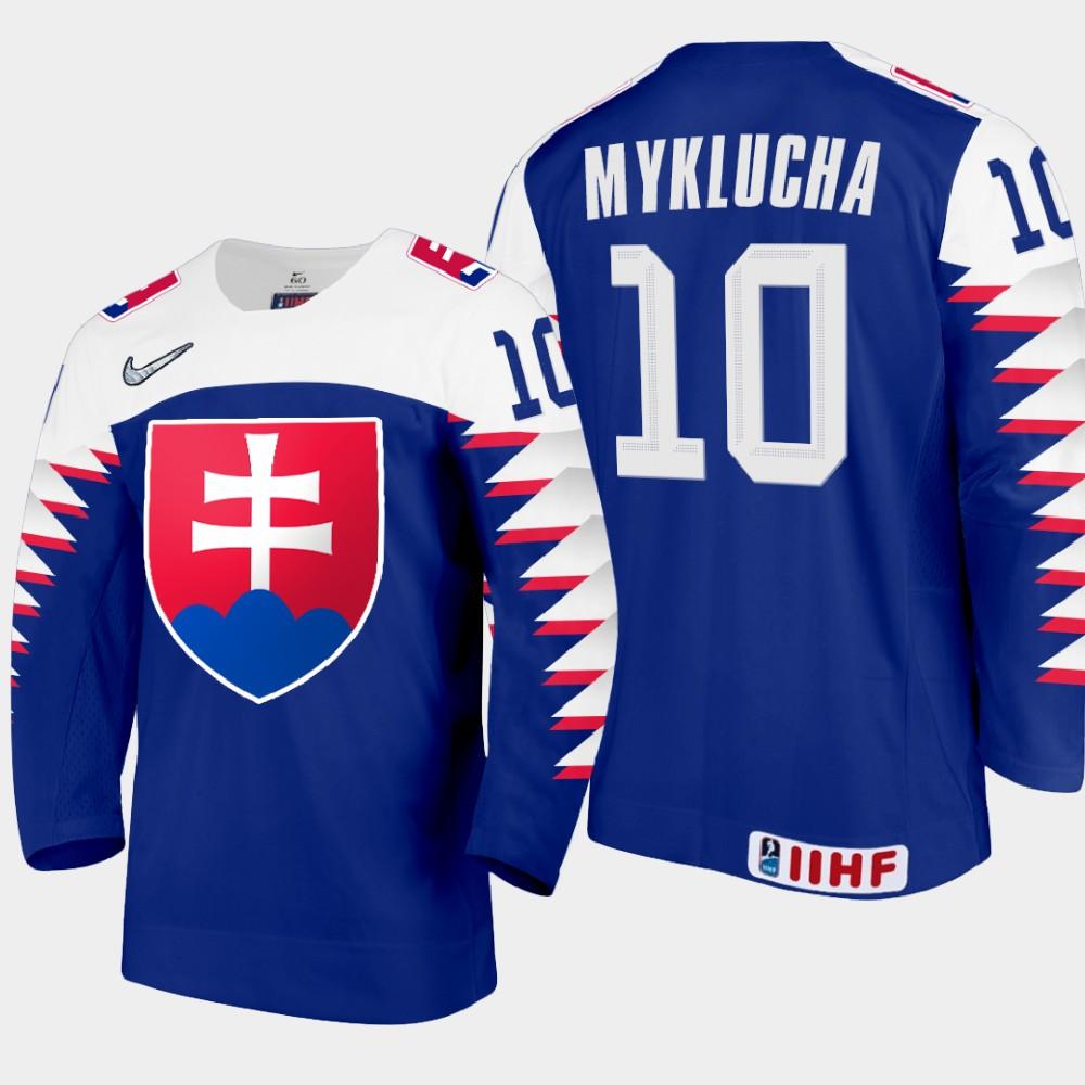 IIHF Men's Jersey Blue 2021 IIHF World Junior Championship Oleksij Myklucha