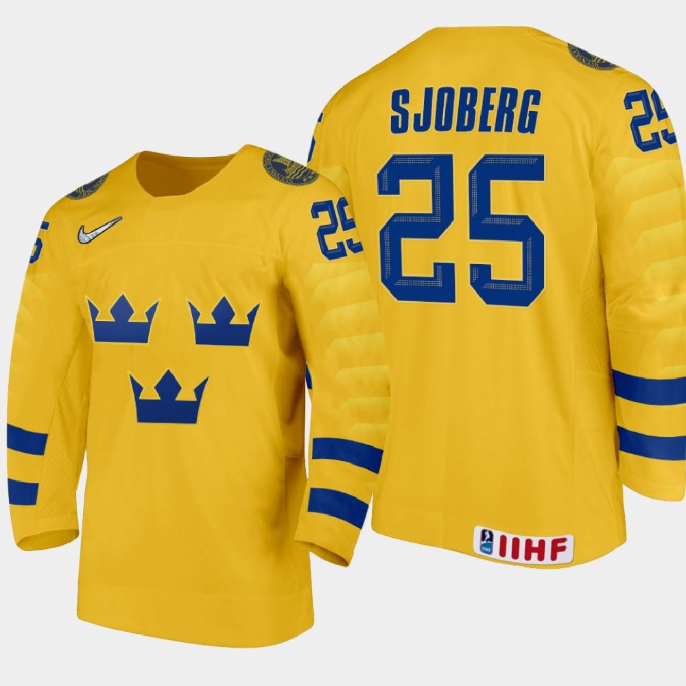 IIHF Men's 2021 IIHF U18 World Championship Jersey Gold Albert Sjoberg