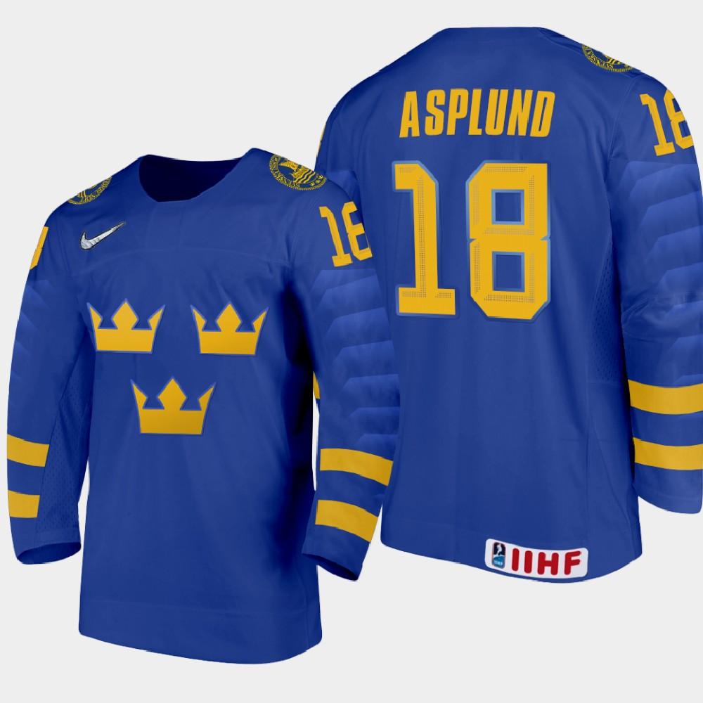 IIHF Men's 2021 IIHF U18 World Championship Jersey Blue Oskar Asplund