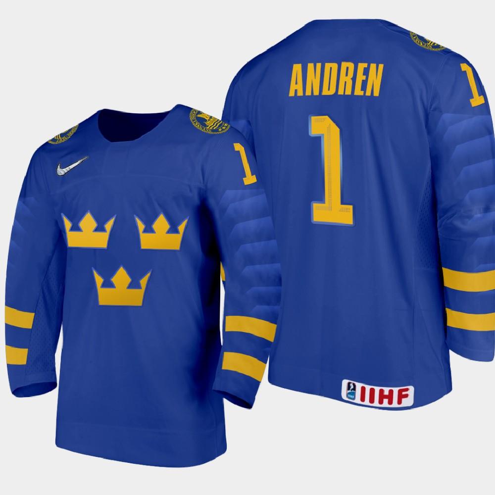 IIHF Men's 2021 IIHF U18 World Championship Jersey Blue Viggo Andren