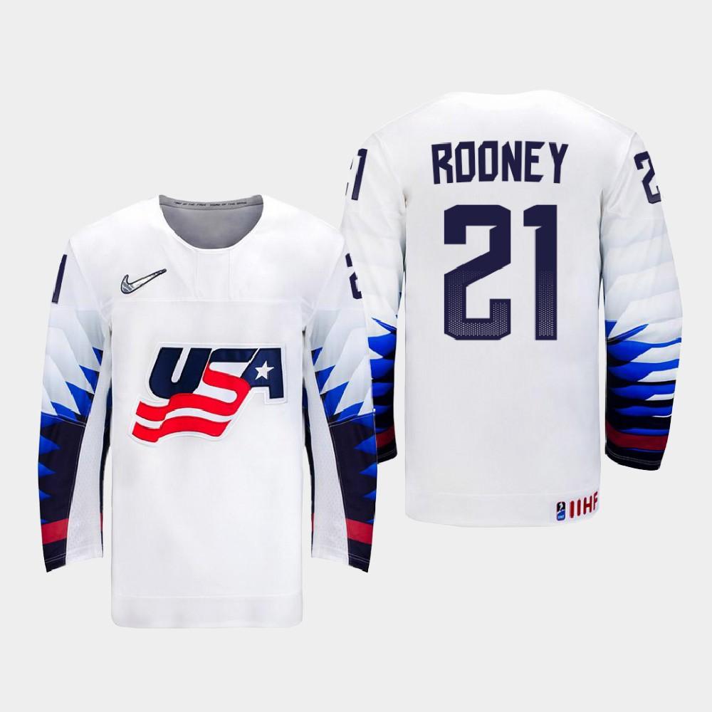 IIHF White Men's Jersey 2021 IIHF World Championship Kevin Rooney