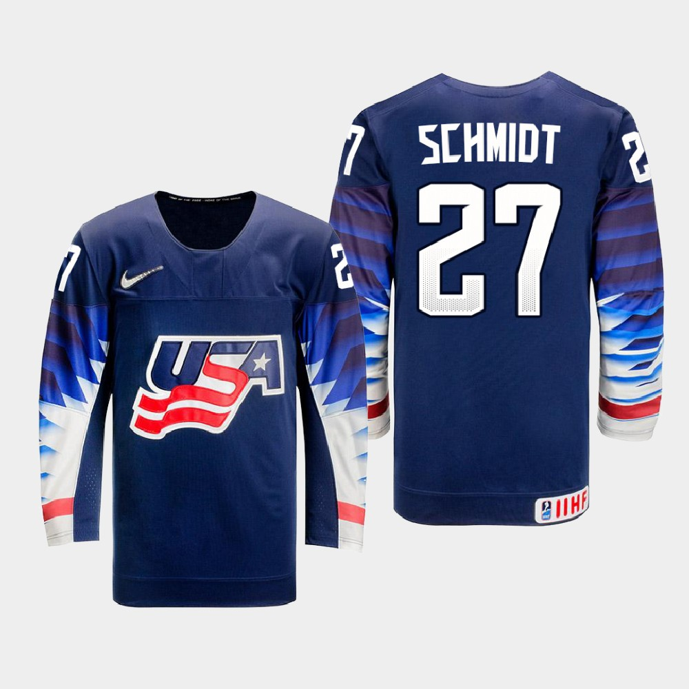 IIHF Men's 2021 IIHF U18 World Championship Jersey Navy Roman Schmidt