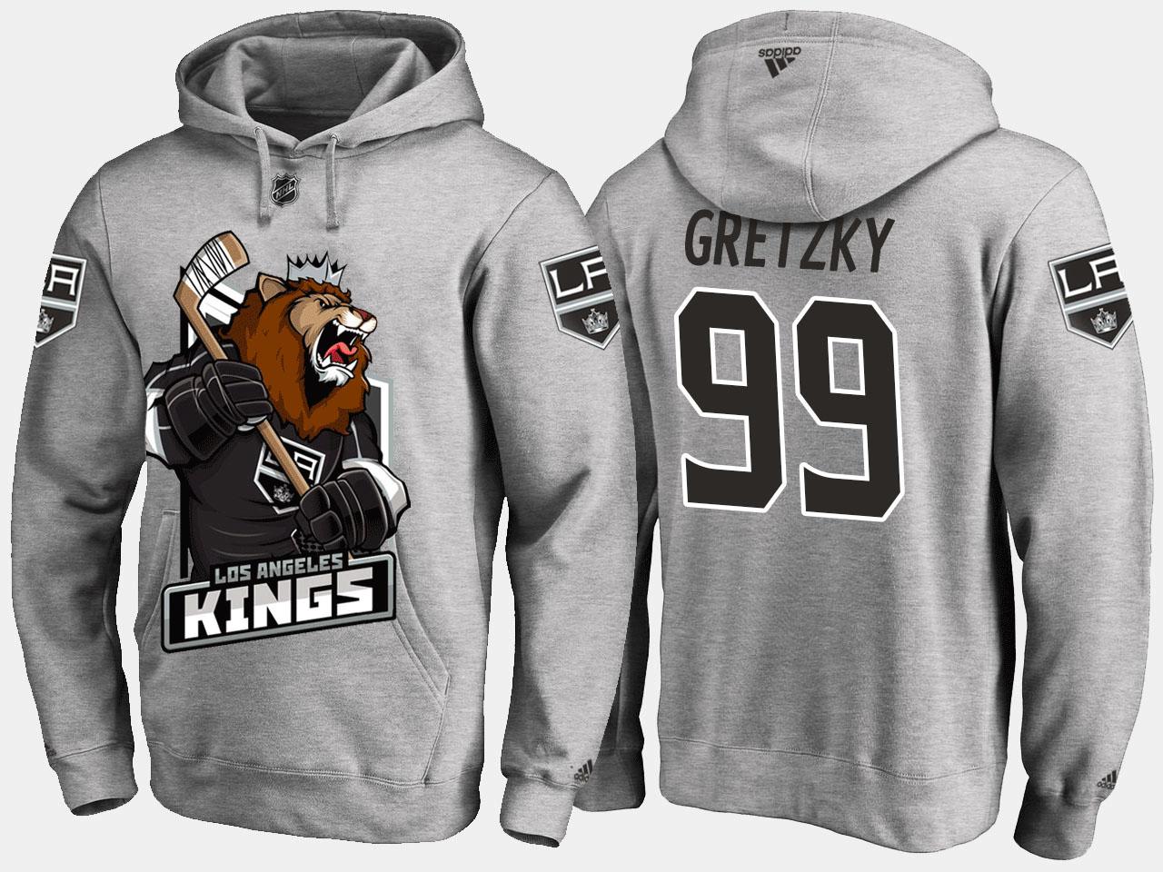 Men's Los Angeles Kings Wayne Gretzky Grey Cartoon Hoodie