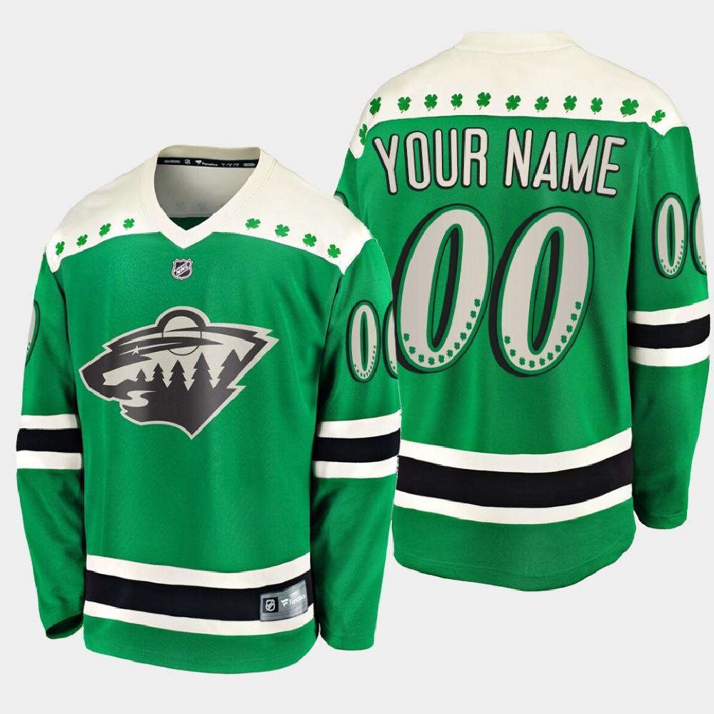 Men's Jersey Custom Green Minnesota Wild St. Patrick's Day