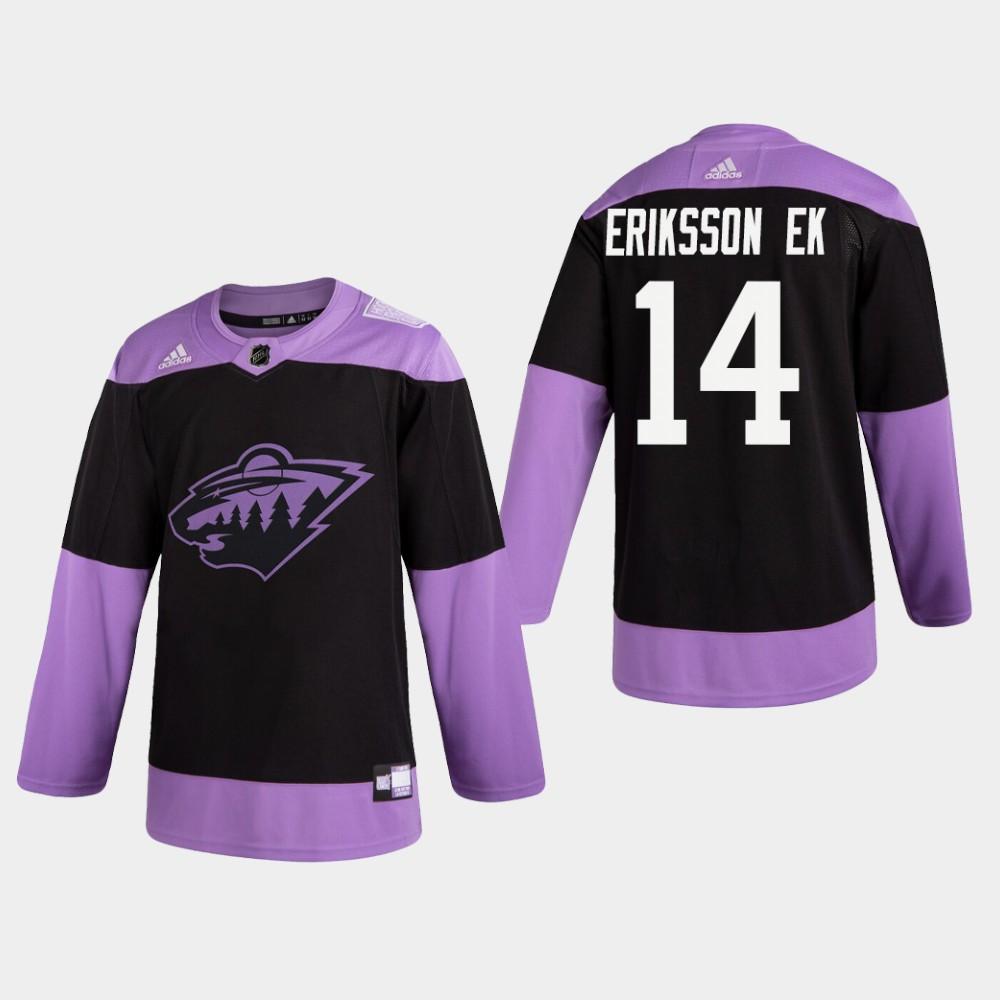 Men's Jersey Black Minnesota Wild Joel Eriksson Ek Hockey Fights Cancer