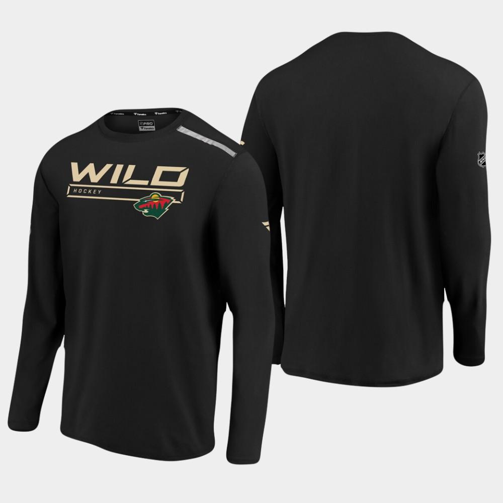 Men's Black Minnesota Wild T-Shirt Authentic Pro