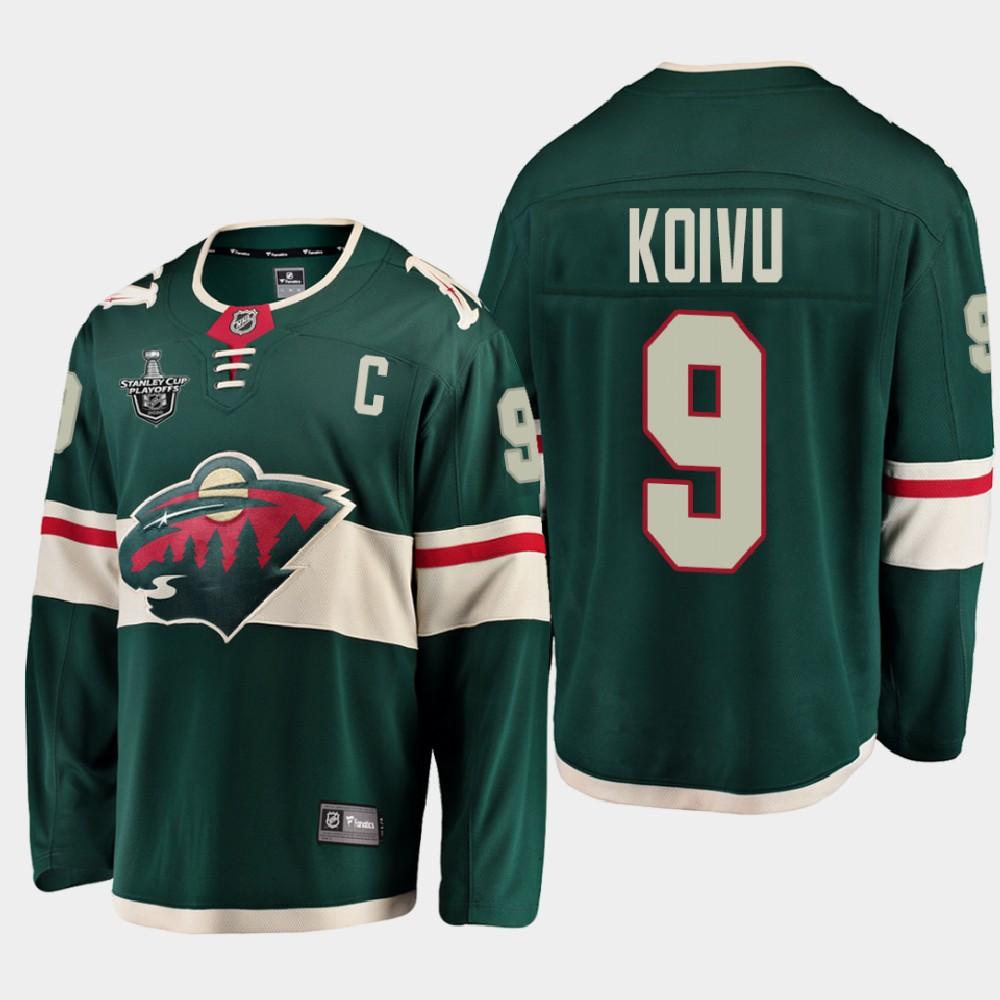Men's Jersey Green Minnesota Wild Mikko Koivu 2020 Stanley Cup Playoffs