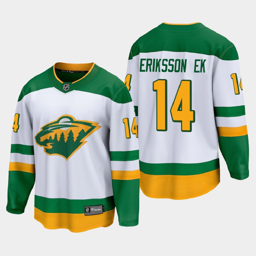 White Men's Jersey Reverse Retro Minnesota Wild Joel Eriksson Ek