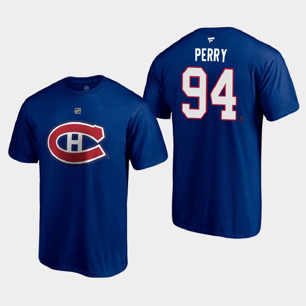 Men's Blue Reverse Retro Montreal Canadiens Corey Perry T-Shirt