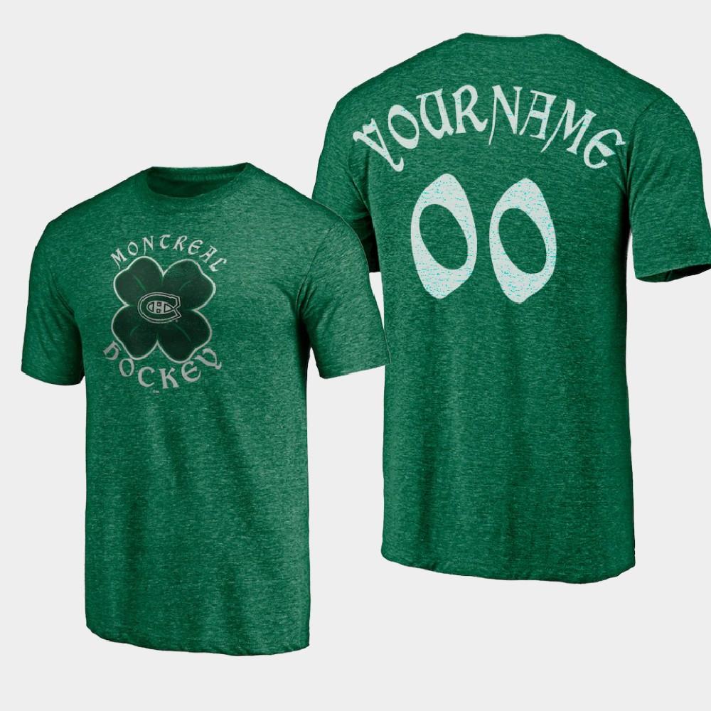 Men's Custom Montreal Canadiens St. Patrick's Day Kelly Green T-Shirt