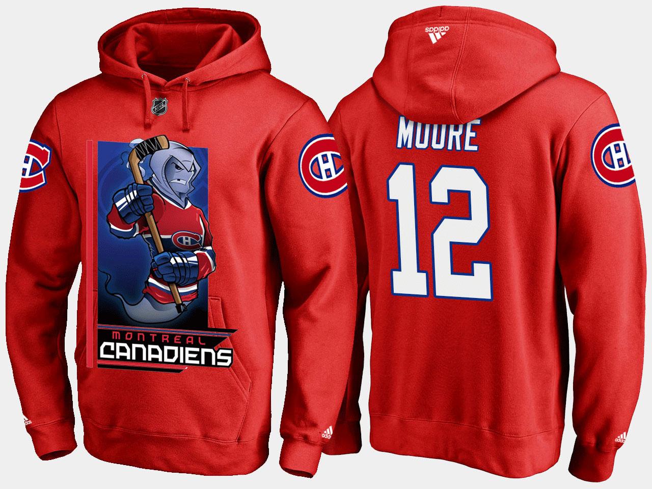 Men's Red Montreal Canadiens Dickie Moore Cartoon Hoodie