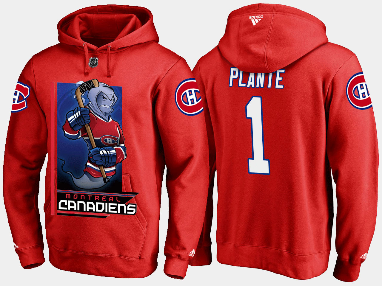 Men's Red Montreal Canadiens Jacques Plante Cartoon Hoodie