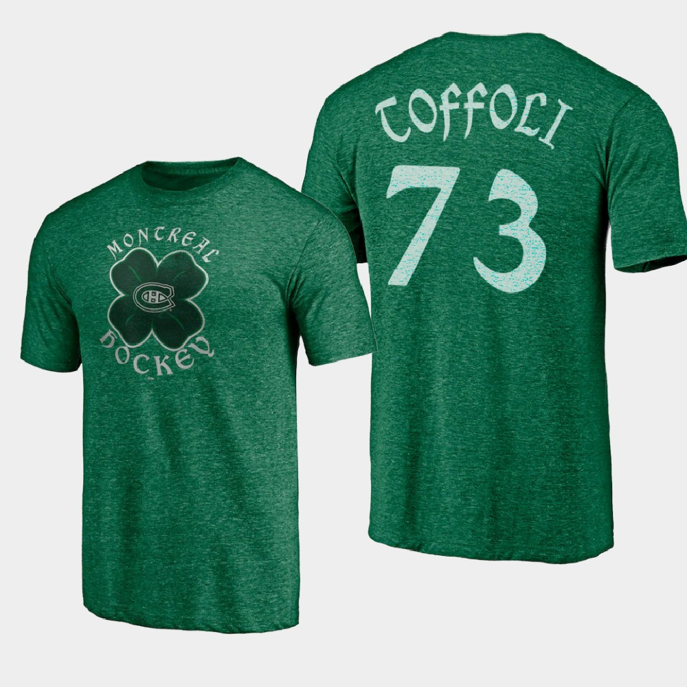 Men's Montreal Canadiens Tyler Toffoli St. Patrick's Day Kelly Green T-Shirt