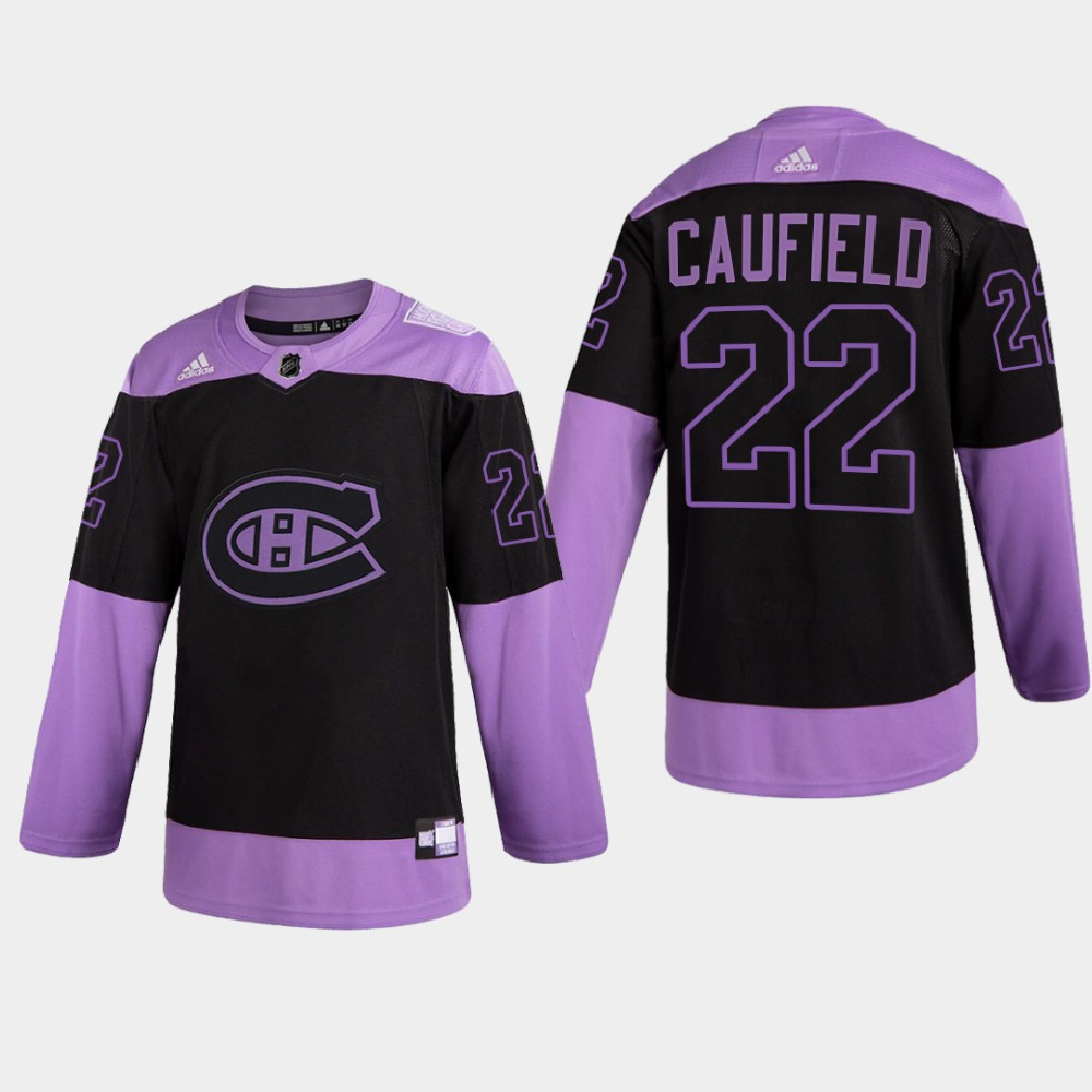 Men's Jersey Montreal Canadiens Purple 2021 Hockey Fights Cancer Night Cole Caufield
