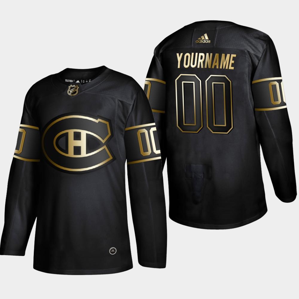 Men's Jersey Black Custom NHL Golden Edition Montreal Canadiens