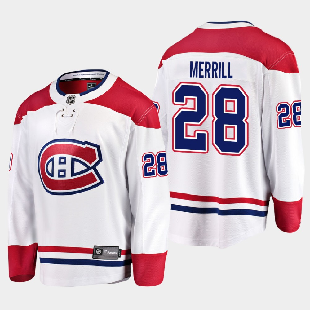 White Men's Jersey Away Montreal Canadiens Jon Merrill
