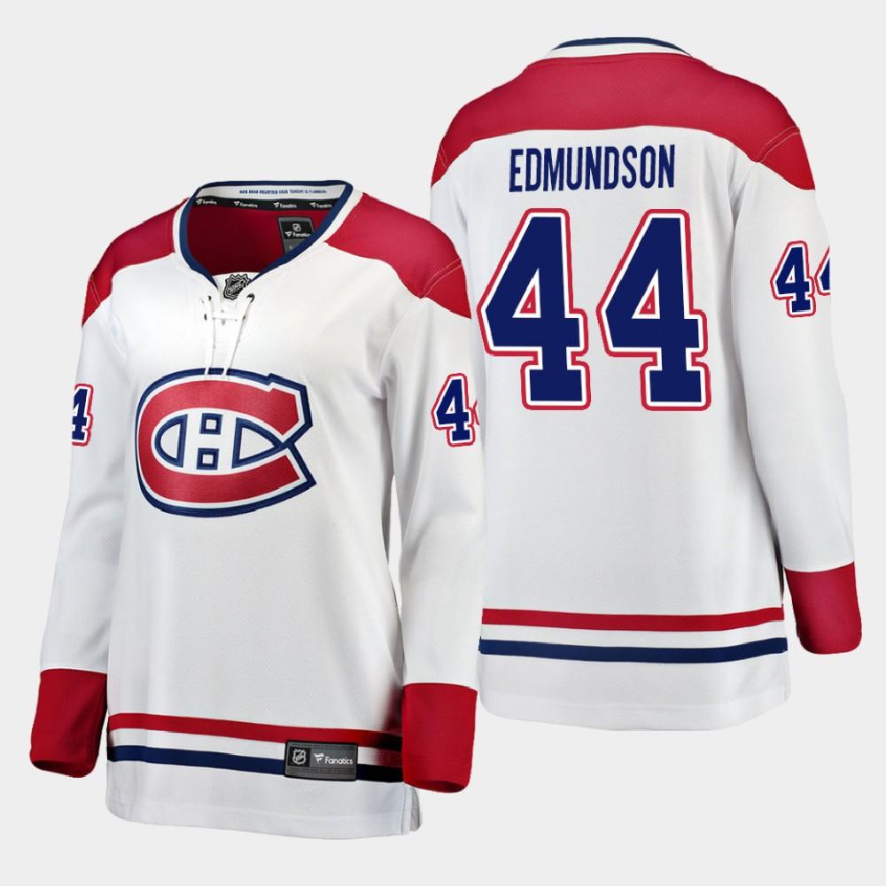 White Jersey Away Women's Montreal Canadiens Joel Edmundson