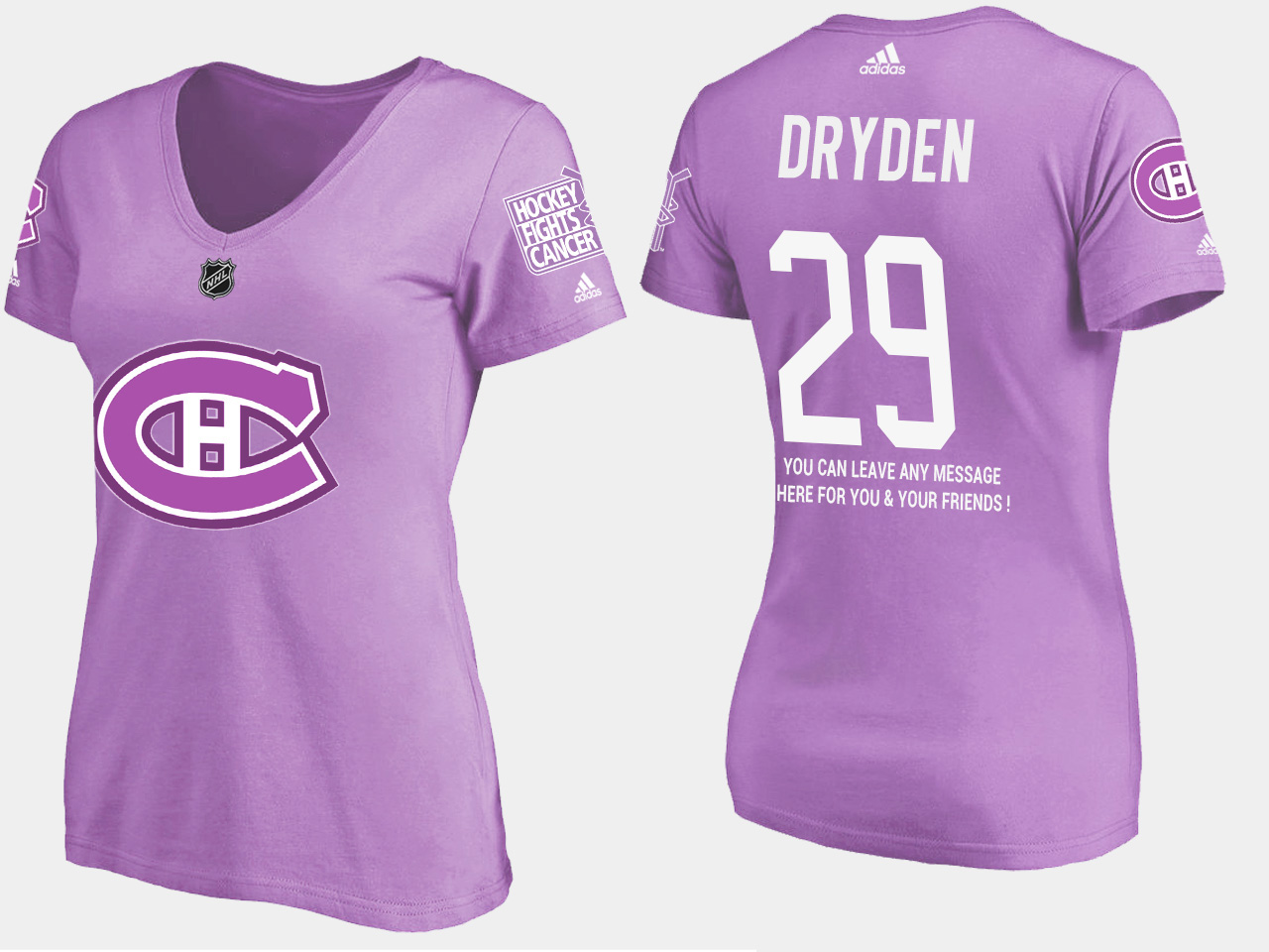 Women's Montreal Canadiens Purple Ken Dryden T-Shirt Fights Cancer