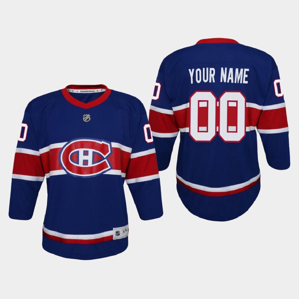 Jersey Reverse Retro Custom Youth Montreal Canadiens Royal