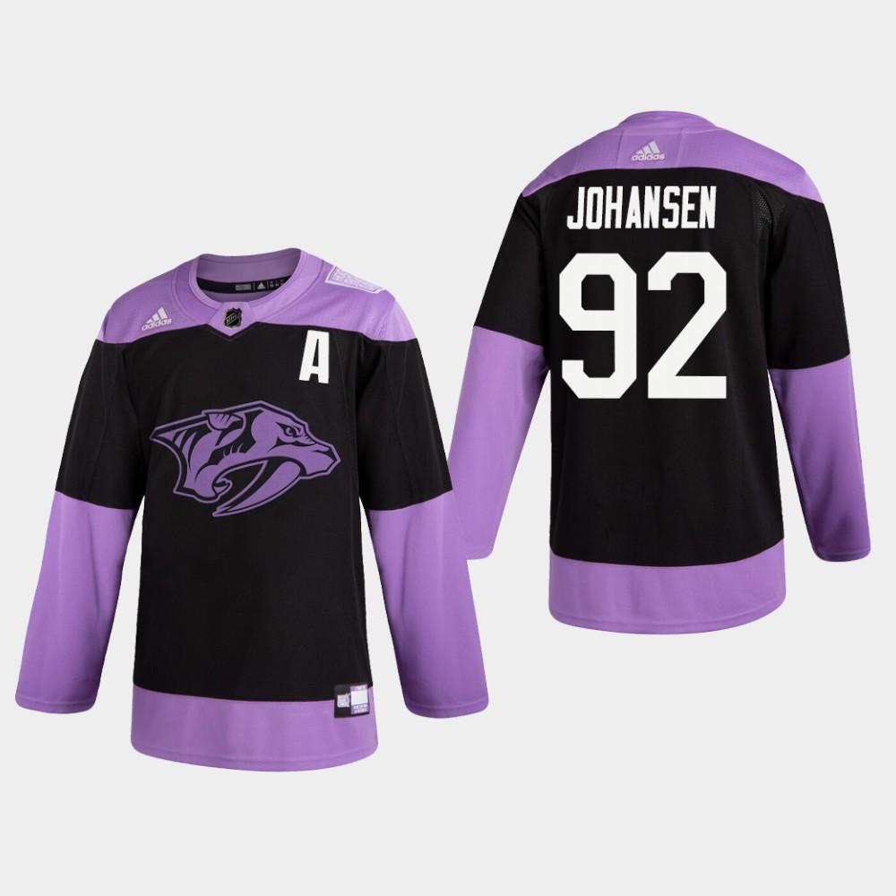 Men's Jersey Black Nashville Predators Ryan Johansen Hockey Fights Cancer