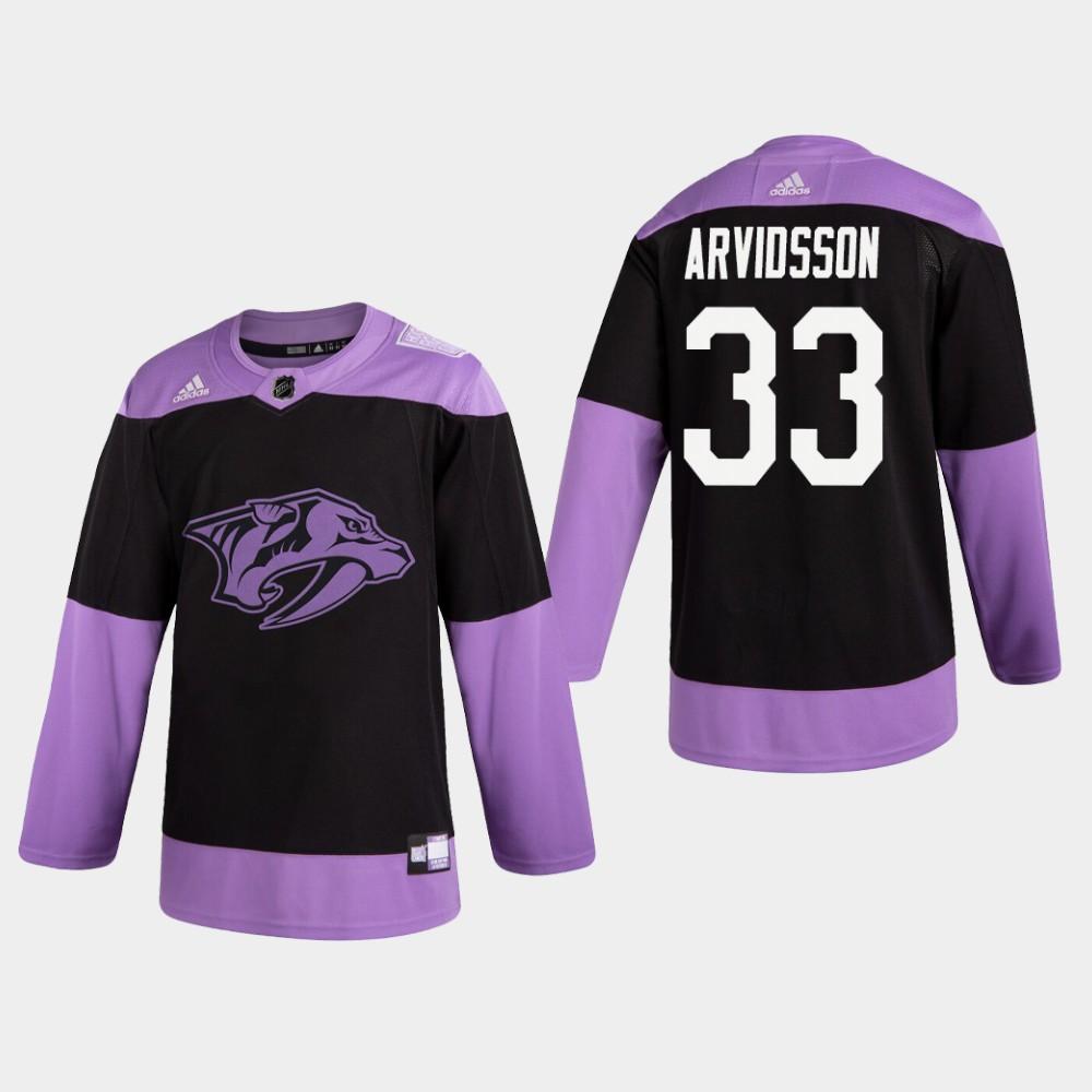 Men's Jersey Black Nashville Predators Viktor Arvidsson Hockey Fights Cancer