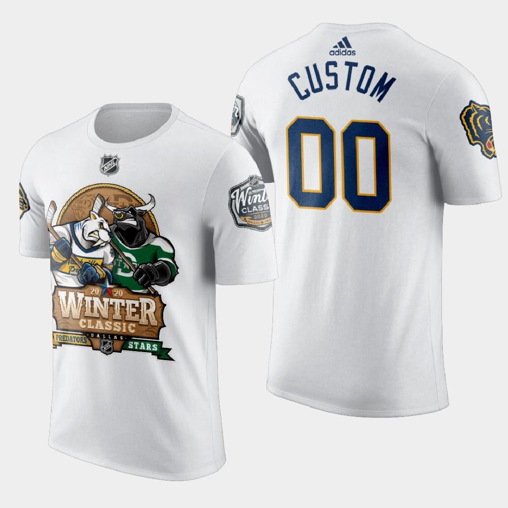 White Men's Custom Nashville Predators 2020 Winter Classic T-Shirt